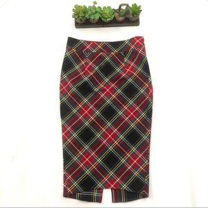 Woman's Free People Plaid Midi Pencil Skirt Size 2